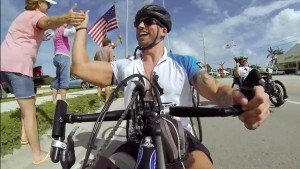 Wounded Warriors bike across the 7 mile bridge in the Florida Keys.
